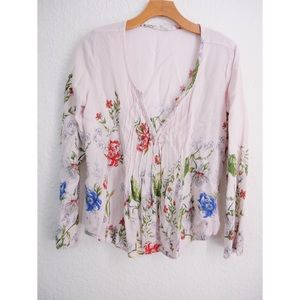 Tops - Lovestitch / Pink Floral Boho Peasant Top